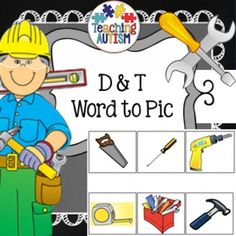 Free !! Reading Strategies, Word to Pic Matching D & T, SEN, ASD  Laminate the picture as a page to use as a board.  Cut out and laminate the box words.  Pupils have to match the words to the pictures.   Excellent at working out if students are able to recognize D&T object names and how well they can read even if they are non-verbal.    Contains 2 activities.