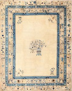 Click here to view this Beautiful Large Cream Background Antique Peking Chinese Rug 49333 available at Nazmiyal in New York City