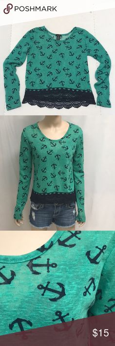 Anchor Nautical Top Shirt XS Rue 21 Women's NWOT cute Top in green and navy printed with anchors and trimmed in crochet edging. XS by rue 21 my mannequin is a size 2 and this fits her perfectly. Rue 21 Tops Tees - Long Sleeve