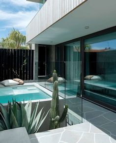A Passive House in Perth with desert modernist-style influences Interior Design Layout, Design Layouts, Design Ideas, Crazy Paving, Passive Design, Small Swimming Pools, Courtyard Design, Live Edge Furniture, Timber Cladding