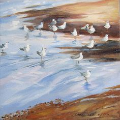 Seagulls at Redcliffe SOLD Oil On Canvas, Paintings, Art, Art Background, Paint, Painted Canvas, Painting Art, Kunst, Oil Paintings