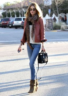 brown bomber, printed scarf, skinny jeans, white t, black booties