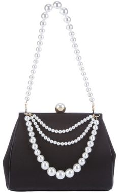 Moschino Cheap & Chic Pearl Embellished Shoulder Bag in Black (pearl) - t