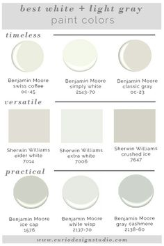 Best White plus light gray colors from BM