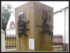 Two metal sculptures of bugs (Brouk I./Beetle I. and Brouk II./Beetle II.) are located right behind gate to are of Kunín chateau. Author of first bug is Barbora Teuchmanová and author of second bug is Lukáš Hruzek.