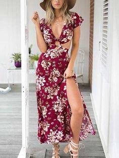 Boho Sexy Floral Print V Neck Dress