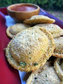 Plain Chicken: Oven Toasted Ravioli- tried these tonight and they were easy and delicious!