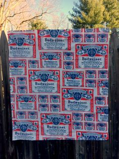 Budweiser Beer Fabric Panels Sewing Material Advertising Red White Curtain Set Vintage