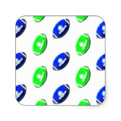 Bright Green and Blue Football Pattern Stickers