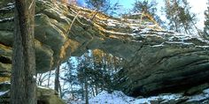 Day-use park with a breathtaking natural sandstone arch created by the eroding effects of wind and water. Natural Bridge and Rockshelter State Natural Area is located within Natural Bridge State Park. Natural Bridge and Rockshelter contains the largest natural bridge known in Wisconsin, created by w