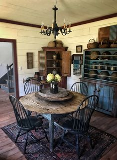 Table and chairs Primitive Dining Rooms, Country Dining Rooms, Primitive Homes, Primitive Kitchen, Primitive Decor, Country Primitive, Primitive Curtains, Primitive Bathrooms, Dining Room Design