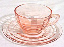 Depression Glass - Anchor Hocking - Block Optic - Pink Cup & Saucer Sets