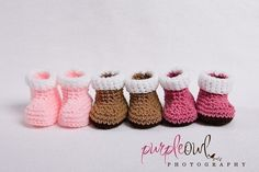 Baby Snow Booties Crochet Pattern - I've soo got to make these for all my girlfriends who are having babies!