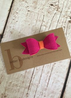 Hot Pink and Orange Felt Hair Bow on Alligator Clip by letterbdesigns on Etsy https://www.etsy.com/listing/238157517/hot-pink-and-orange-felt-hair-bow-on