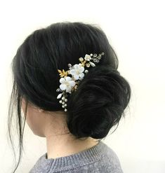 Gold Leaf Hair Comb Bridal Hair Comb Floral Hair Piece Wedding Hairpiece Gold Hair Piece Bridal Accessories Flower Headpiece Gold Bobby Pin