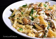Gemelli with Lump Crab, Mushrooms and Asparagus in a Lemon Butter Sauce
