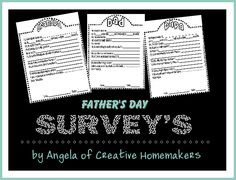 Father's Day Surveys-one for Daddy, Papa and Grandpa. Free! No registration required.