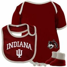 NCAA Indiana Hoosiers Infant Crimson 3-Piece Creeper, Bib & Booties Set (6-9 Months) by Football Fanatics. $17.95. Two snaps on left shoulder. Lightweight ribbed creeper. Rib-knit collar, cuffs & leg holes. Three snaps on bottom. Screen print graphics. Indiana Hoosiers Infant Crimson 3-Piece Creeper, Bib & Booties SetThree snaps on bottomLightweight ribbed creeperRib-knit collar, cuffs & leg holes100% Cotton fabricImportedHook and loop fastener on bibTwo snaps on...