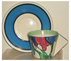 CLARICE CLIFF BIZARRE RUDYARD CONICAL CUP AND SAUCER - PERFECT in Pottery, Porcelain & Glass, Pottery, Clarice Cliff | eBay