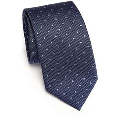 Brioni Polka Dotted Silk Tie (9.565 RUB) ❤ liked on Polyvore featuring men's fashion, men's accessories, men's neckwear, ties, mens silk ties, mens navy tie, mens ties and mens polka dot ties
