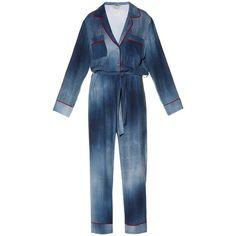 Fendi Contrast-piping cady jumpsuit (27 150 ZAR) ❤ liked on Polyvore featuring jumpsuits, outfits, blue print, tie dye jumpsuit, fendi, denim jumpsuit, patterned jumpsuit and print jumpsuit