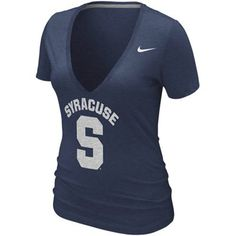 Nike Syracuse Orange Ladies Deep V Burnout T-Shirt - Navy Blue