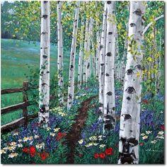 Hiking to Bells - aspen birch tree art by Aspen Artist Jennifer Vranes -- Jennifer Vranes