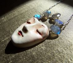 "Lady Face pendant (1"" wide) with Labradorite on Sterling Silver.  Handmade by Felicia Nilson"