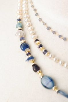 Sea006N unique handcrafted designer artisan pearl lapis sterling silver multistrand necklace for women