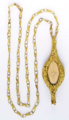 GRIMA 18K GOLD AND CITRINE PENDANT WATCH WITH CHAIN