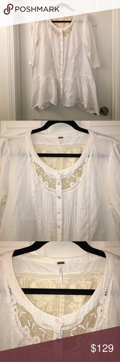 FREE PEOPLE Boho Gypsy Ecru Lace Romantic Top Sz M Wow! This is a FREE PEOPLE Boho Gypsy Ecru Lace Romantic Button Top in a Sz M, it's beautiful! Light and airy! Perfect for summer! Button front with lace trims and back lace panel insert! Amazing and in very good used condition! I ship fast! Happy poshing friends! Free People Tops