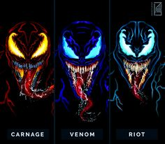 Carnage, Venom & Riot - Hobbies paining body for kids and adult Venom Comics, Marvel Comics, Marvel Venom, Marvel Villains, Marvel Fan, Marvel Characters, Marvel Heroes, Marvel Avengers, Toxin Marvel
