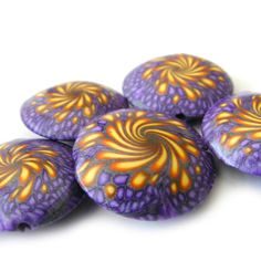 Focal Beads Swirl Lentil Beads Polymer Clay in by RolyzCreations, $24.00