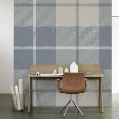 Ranold Wallpaper Traditional Scottish plaid pattern in blue, beige, brown and cream.