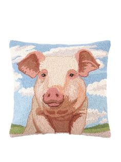 Peking Handicraft Hook Pillow, Pig Portrait,