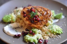 Pomegranate Swordfish with Romanesco couscous and labneh-dill sauce