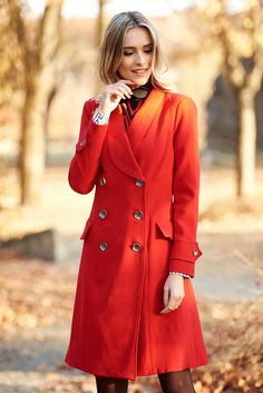 Artista red coat arched cut slightly elastic fabric with pockets Arch, November, Buttons, Pockets, Coat, Long Sleeve, Sleeves, Fabric, Artists