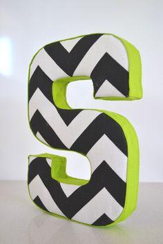 LETTER WALL ART Fabric Letter S in Black by CheekeeMonkeez