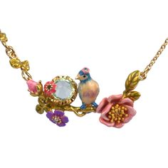 Collection Jardin d'Amour http://shop.lesnereides.com/necklaces/2888-tit-on-its-branch-with-flower-and-faceted-glass-necklace-3700377792443.html