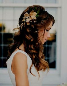 Coiffure de mariage / wedding hair Hair Styles for Girls Wedding Hair Down, Wedding Hairstyles For Long Hair, Wedding Hair And Makeup, Wedding Beauty, Down Hairstyles, Pretty Hairstyles, Hair Makeup, Hairstyle Wedding, Romantic Hairstyles