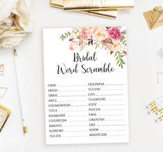 Scramble Game, Digital Word, Printable Bridal Shower Games, Wedding Activities, Wedding Memorial, Peony Flower, Activity Games, Diy Cards, As You Like