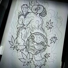 Baby Tattoos, Body Art Tattoos, Sleeve Tattoos, Japanese Tattoo Art, Japanese Drawings, Japanese Art, Foo Dog Tattoo Design, Tattoo Designs, Shetland
