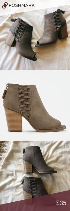 """Lace Detail Booties Super cute brand new taupe booties featuring side lace detailing! Approx 3"""" heel. Ships within 48 hours. Shoes Ankle Boots & Booties"""