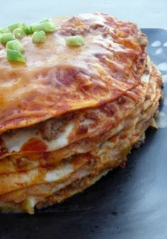 Enchilada stack recipe. A different twist to an old recipe. Think Food, I Love Food, Good Food, Yummy Food, Stacked Enchiladas, Cheesy Enchiladas, Mexican Food Recipes, Beef Recipes, Cooking Recipes