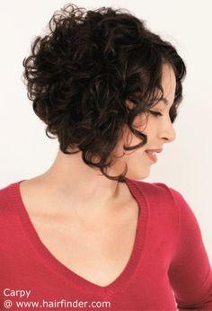 Angled bob haircut for curly hair.