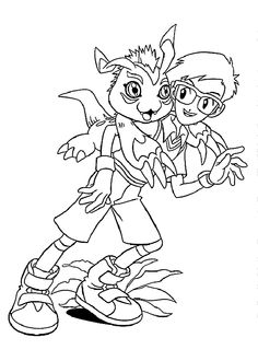 Joe and Gomamon from Digimon anime coloring pages for kids, printable free