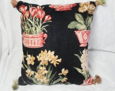 Black & red Floral Pillow with tan, tassels, tulips, daffodils, 14 inch with insert