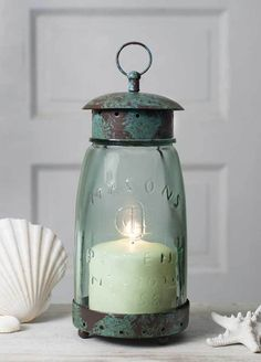 New French Country Cottage Chic MASON JAR LANTERN Candle Holder Shabby Rustic #CTW #Shabby