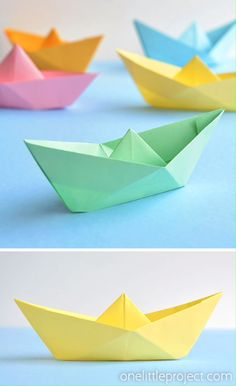 These paper boats are SO FUN and they're so simple to make! All you need is one piece of regular sized printer paper and in 5 minutes you can fold an awesome boat that actually floats in water! Paper Boat Origami, Paper Crafts Origami, Diy Paper, Paper Plane, Origami Boot, Instruções Origami, Origami Bookmark, Origami Stars, Origami Flowers