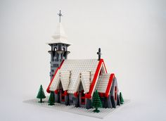 Hello All! Please check out my special creation for the holiday, the Village Church for the well known LEGO Winter Village series. Lego Christmas Village, Lego Winter Village, Lego Village, Lego Gingerbread House, Lego Mini, Casa Lego, Micro Lego, Lego System, Lego Trains